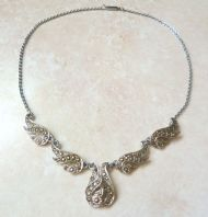 Vintage Marcasite Studded Teardrop Necklace.